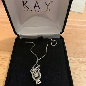 Kay jewelers sterling silver diamond owl necklace